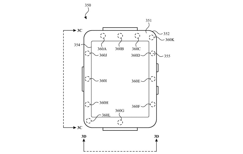 An image in the patent depicting an Apple Watch with potential UV sensor locations