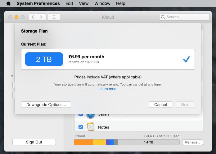 Upgrading iCloud storage
