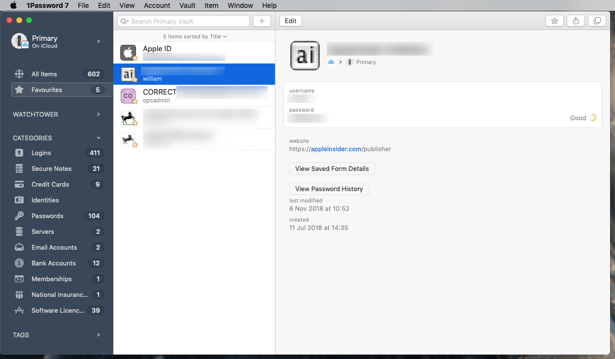 Usernames, passwords and credit card details stored in 1Password