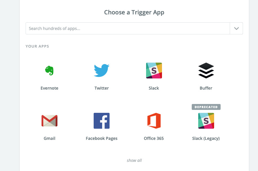 A small selection of the apps that can work with Zapier