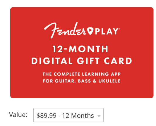 Digital gift card from Fender Play