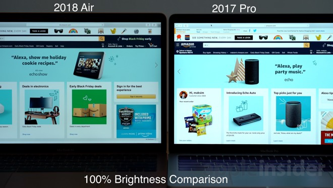 A brightness comparison of the 2018 MacBook Air and the 2017 MacBook Pro
