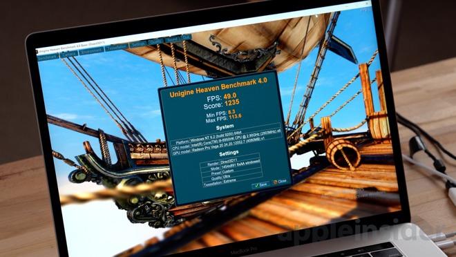 15-inch MacBook Pro with Vega 20 undergoing the Unigine Heaven benchmark in Windows 10