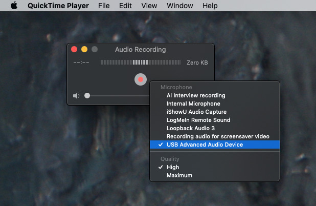 Setting up QuickTime Player to record audio from our best microphone