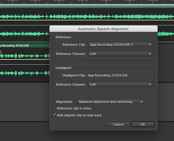 Automatic Speech Alignment feature in Adobe Audition
