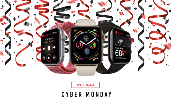 Three Apple Watches with active screens on a white background with black and white ribbons and confetti.
