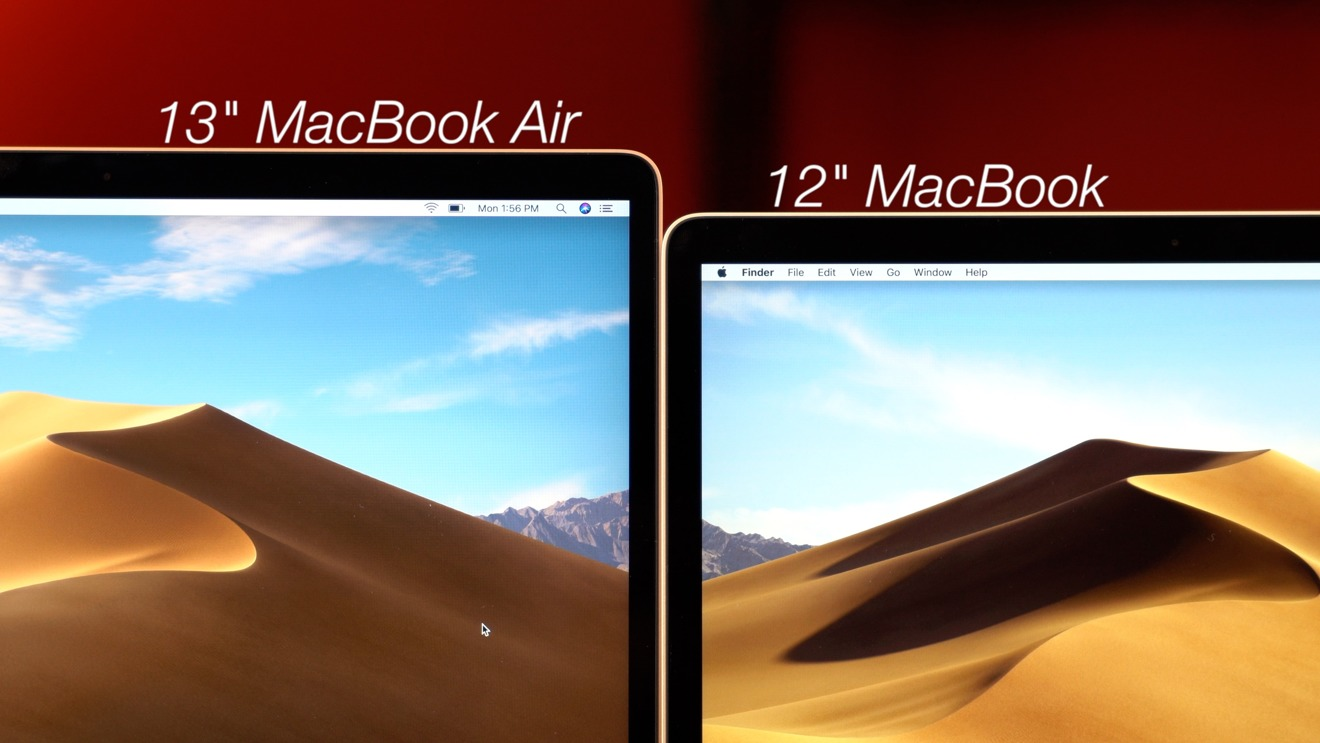 Comparing the contrast of the 13-inch MacBook Air and the 12-inch MacBook