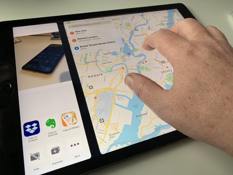 The five-finger shove on iPad moves you between two apps