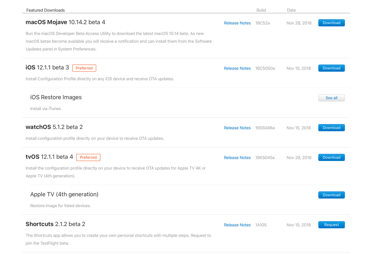 Apple's download list of developer betas and builds