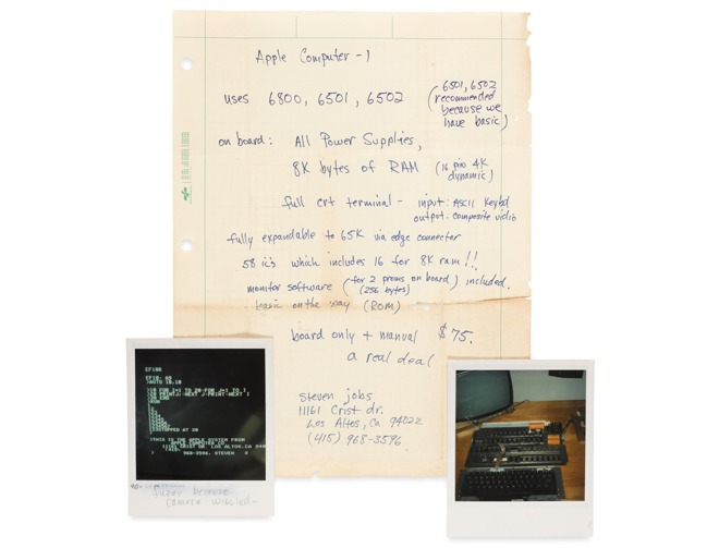 Steve Jobs' handwritten Apple I specifications sheet could fetch