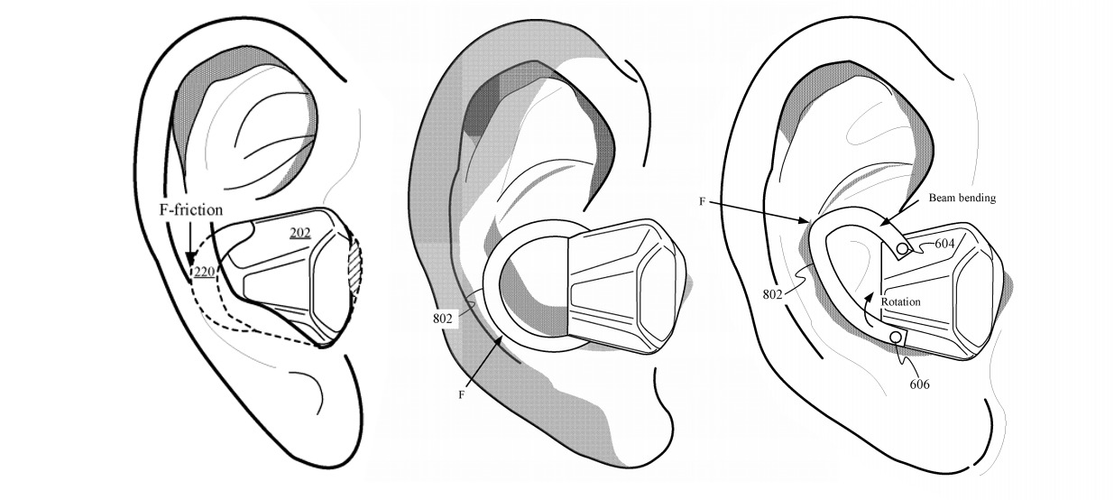 Apple patent diagram showing ways an earphone could be anchored to provide enough pressure for biometric sensing to function
