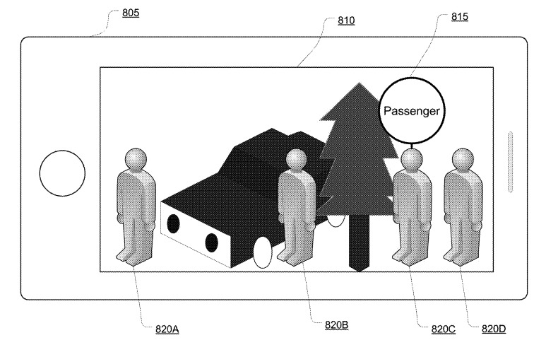 Image from an Apple patent application showing a ride-hailing app driver finding a passenger via AR