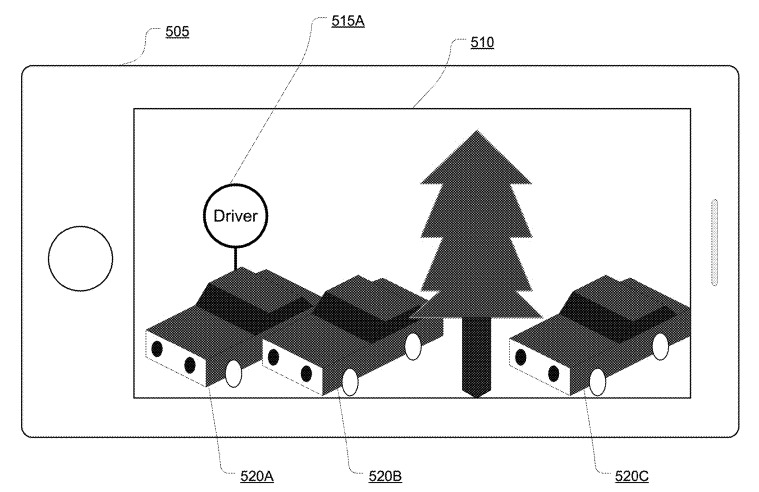 Image from an Apple patent application showing a passenger finding a driver via AR