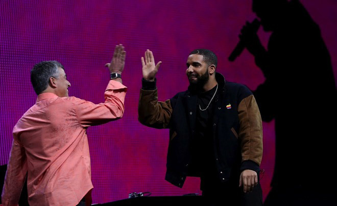 Drake (right) at an Apple event