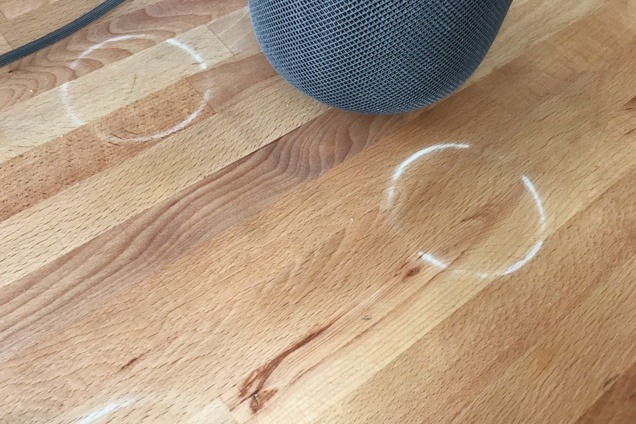 White rings left by HomePod on certain types of wood surfaces