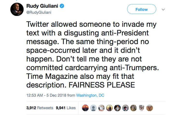 Rudy Giuliani's tweet response