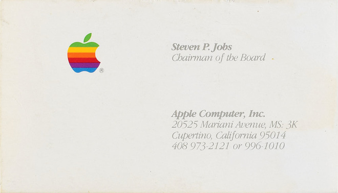 A business card for Steve Jobs when Apple was based in Mariani Avenue, Cupertino