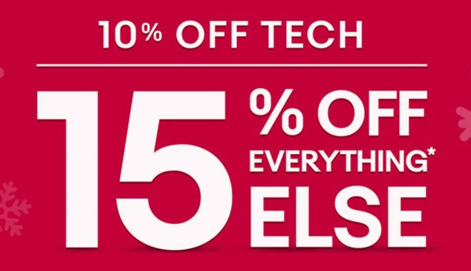 2 hours left: 10% off tech or 15% off everything else at eBay