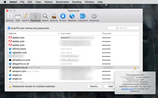 Safari will warn you when you're using the same passwords repeatedly