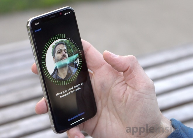 Face ID enrollment on the iPhone X