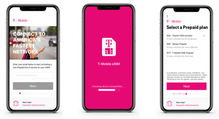t mobile launches esim app for iphone xr iphone xs. Black Bedroom Furniture Sets. Home Design Ideas