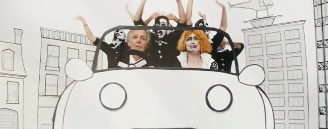 Paul McCartney and Emma Stone in Who Cares