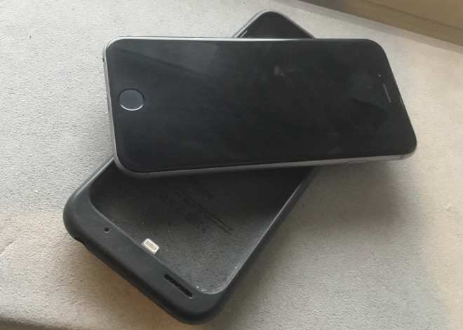 An iPhone 6 with the original 2015 Apple Smart Battery Case