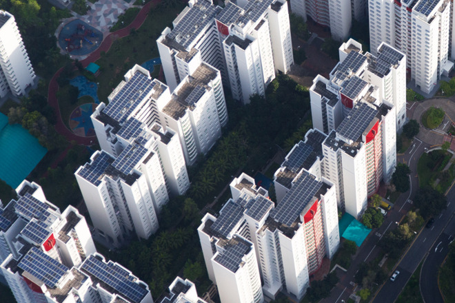 Solar panel rooftops in Singapore (Credit: Apple)