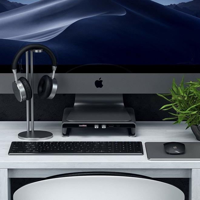 Satechi Type-C Aluminum Monitor Stand Hub and iMac Pro