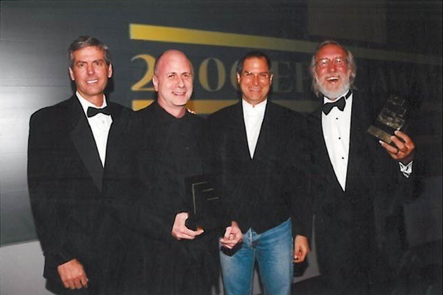 Ken Segall (second from left), Steve Jobs (second from right)