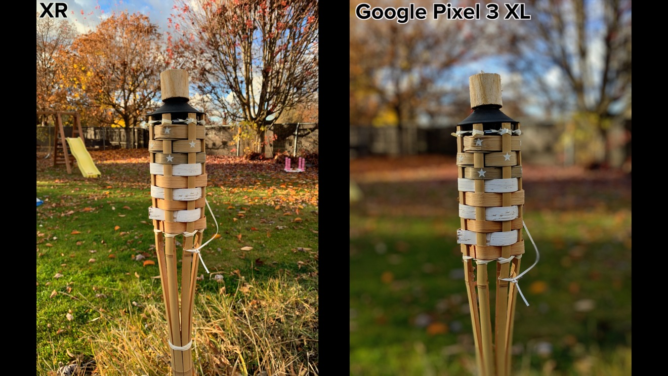 iPhone XR vs Google Pixel 3 showing how the XR cannot take Portraits of objects