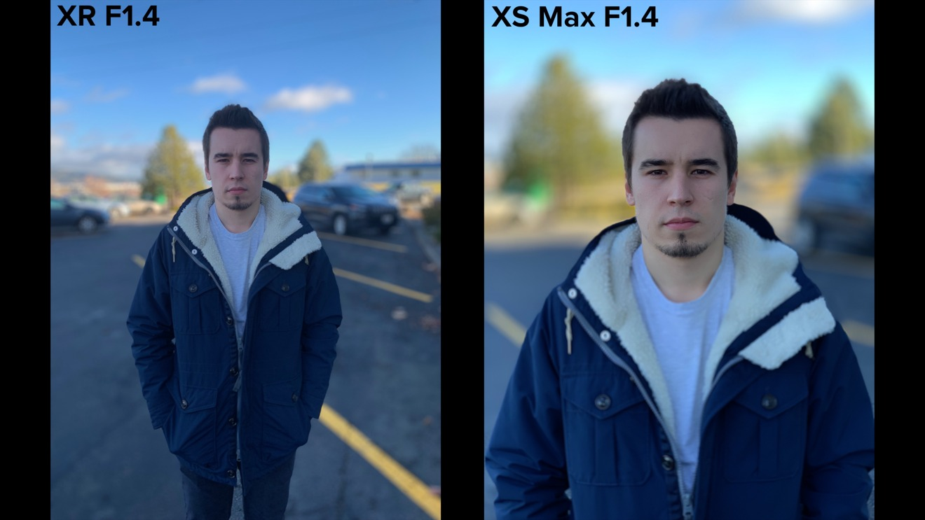 iPhone XR vs iPhone XS Max F1.4 blur comparison