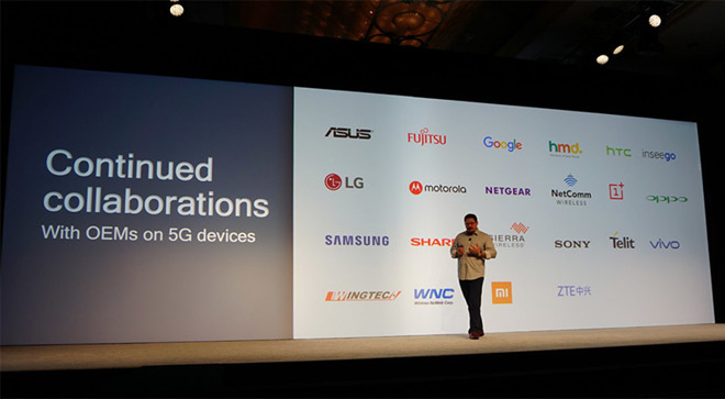 Qualcomm President Cristiano Amon discusses 5G at the Snapdragon Technology Summit. | Source: CNET's Shara Tibken via Twitter