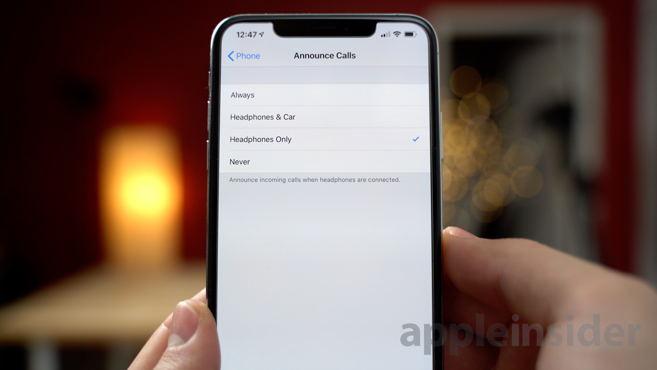 Changing the Announce Calls setting for AirPods
