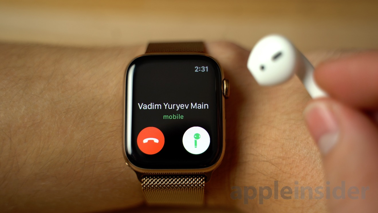 Answering a call on an Apple Watch