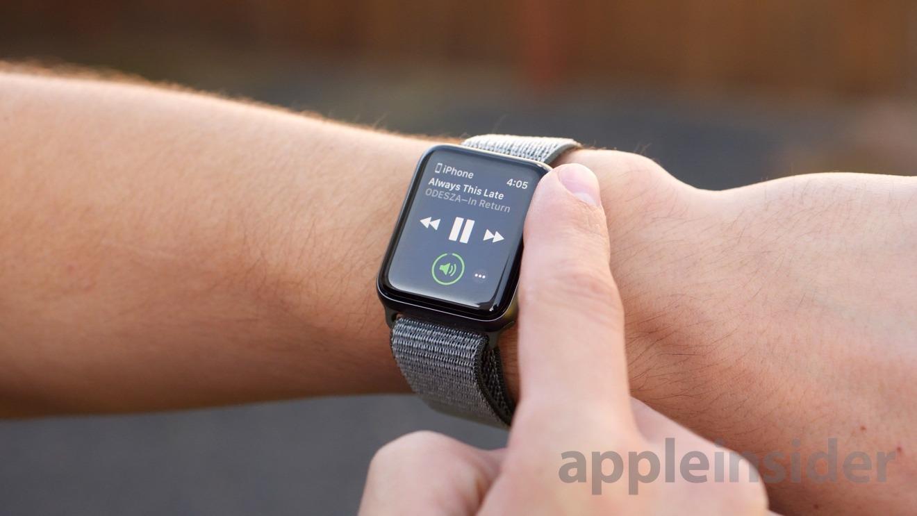 Media controls on an Apple Watch