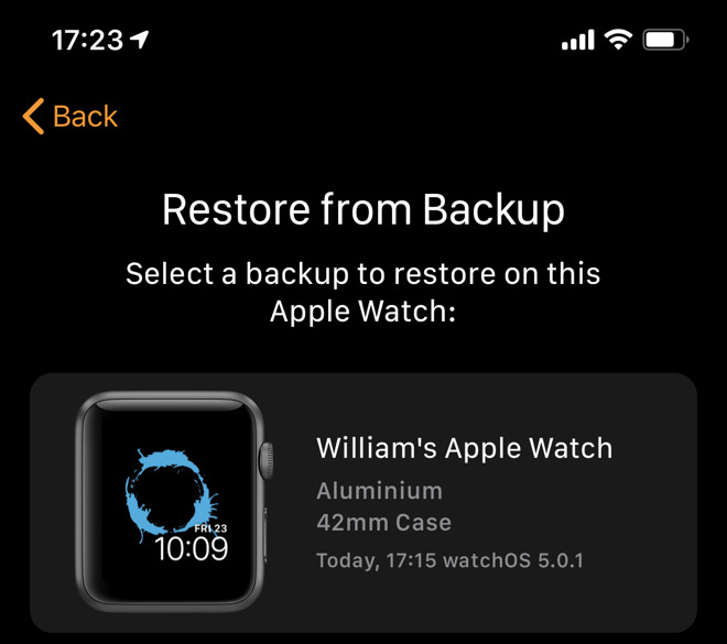 If you had a previous Apple Watch, restore the latest backup to the new one