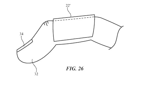 An Apple patent application image showing a 'sleeve' design for the finger-mounted sensors