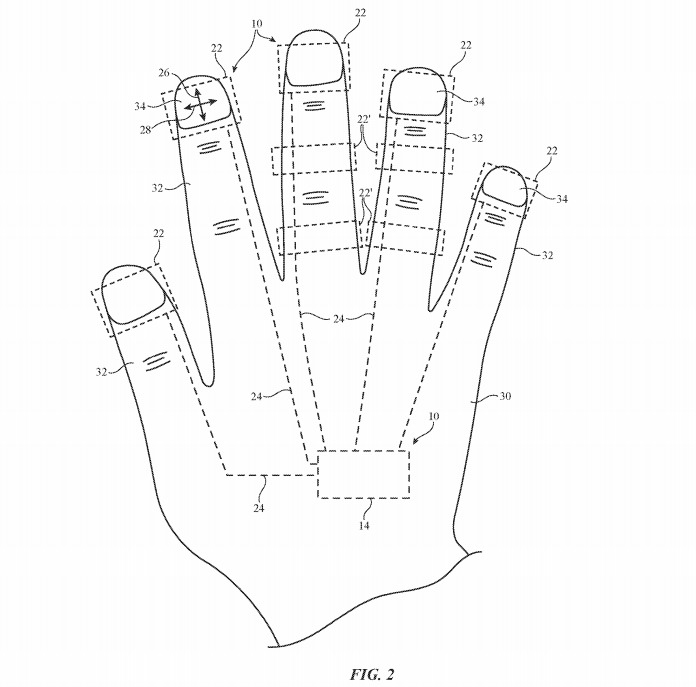 An Apple patent application image showing potential mounting points for finger sensor units