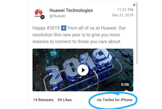 Huawei's deleted tweet