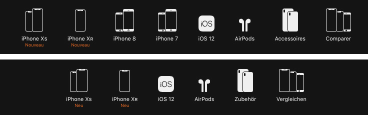 The iPhone menu from the online Apple Store in France (top) and Germany (bottom)