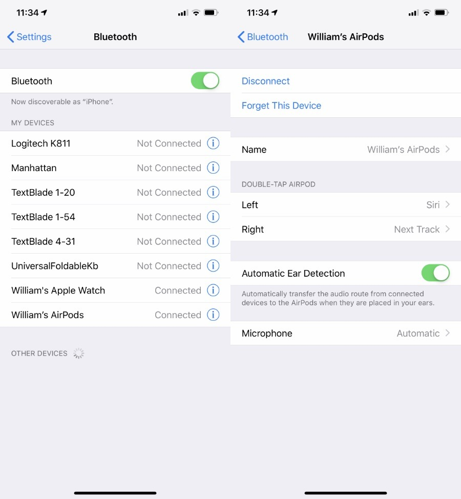 Under Settings, Bluetooth, you can control many aspects of the AirPods