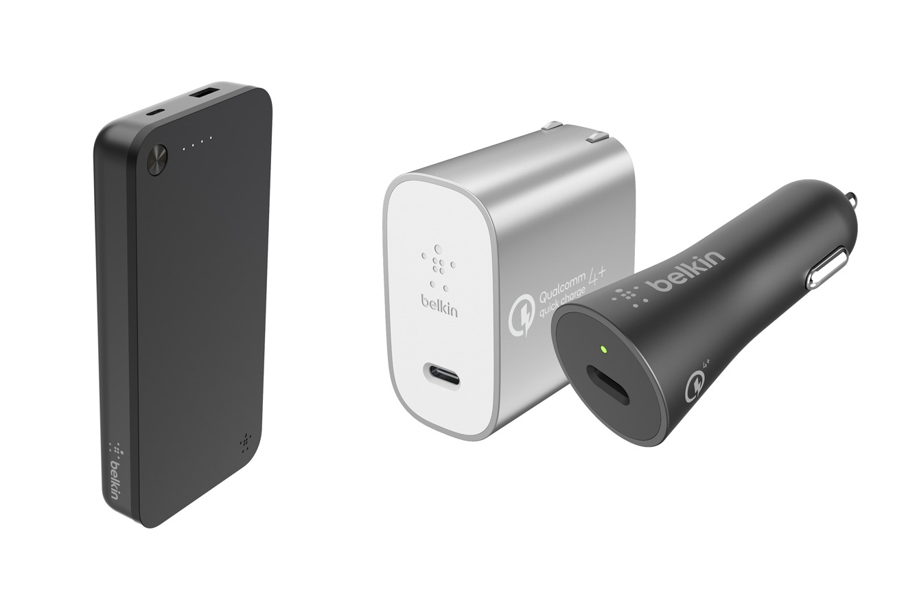 Boost Charge Power Bank USB-C 20K (left), Boost Charge USB-C Car Charger and USB-C Home Charger (right)