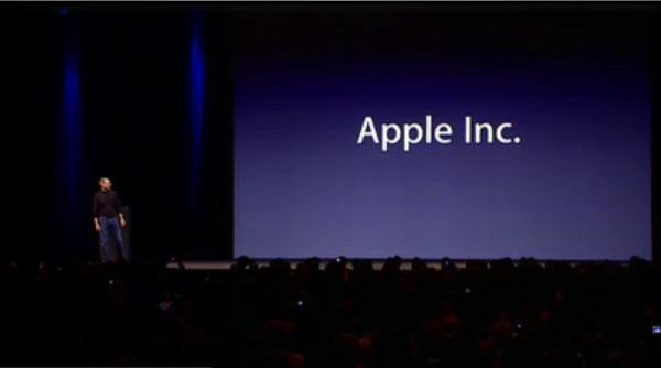 Steve Jobs announcing Apple's name change