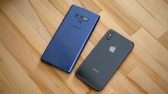 Samsung Galaxy Note 9 (left), Apple's iPhone X (right)