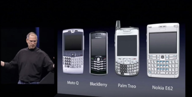 Steve Jobs with the then most popular smart phones in 2007