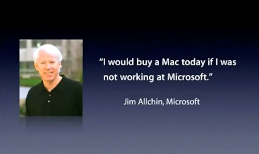 Jobs shows quote from Microsoft Senior Leadership Team's Jim Allchin about buying Macs