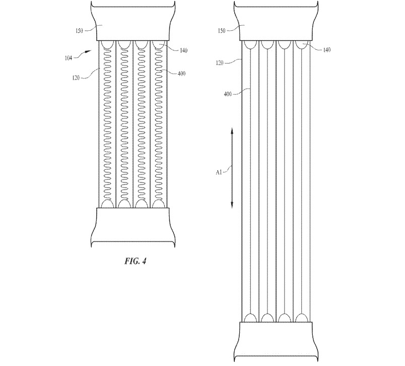 An illustration of the helically coiled light fiber within an extendable light tube in the watch band.