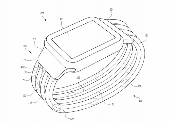 An illustration of Apple's proposed glowing Apple Watch band