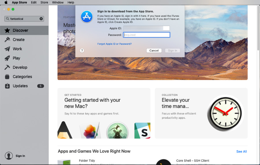 Signing in to the Mac App Store on macOS Mojave